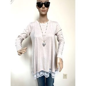 Beige A-line tunic with lace detail, S